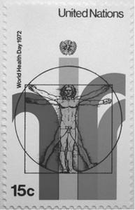 図1 国連切手に描かれた「ウィトルウィウス的人体図