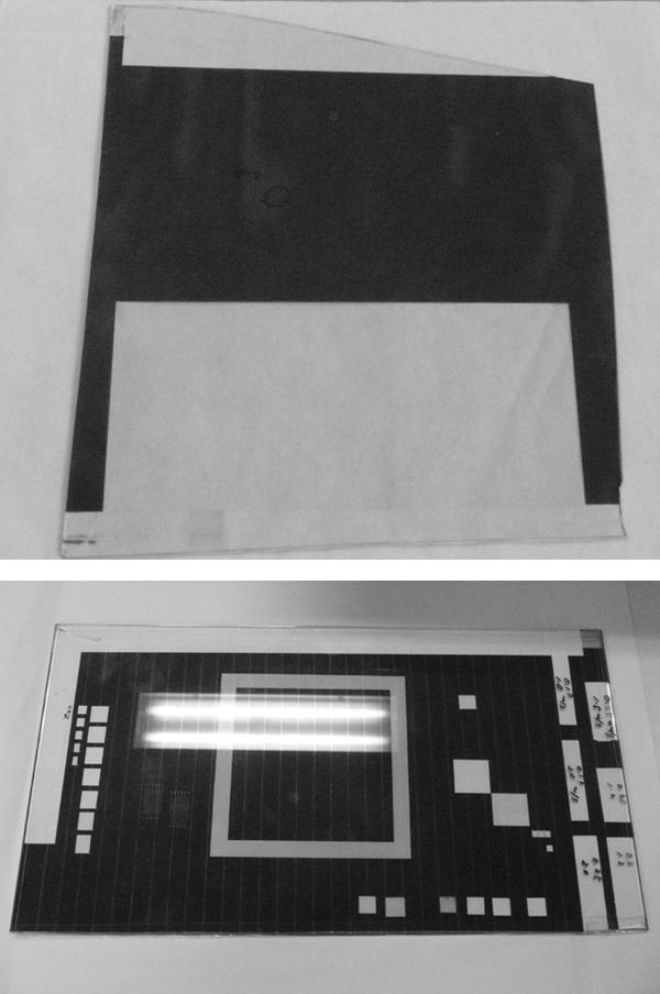 レーザによって剥離した液晶パネル(上)と薄膜太陽電池パネル(下)の剥離サンプル。