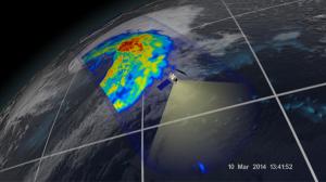 GMIによる地表面付近の降水の強さ