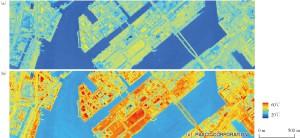 図1 航空機(飛行高度:約1200 m)に搭載した赤外線センサより8月7日の13時頃に観測した竹芝から豊洲にかけての放射温度(上),及び大気補正後の地表面放射温度(下)