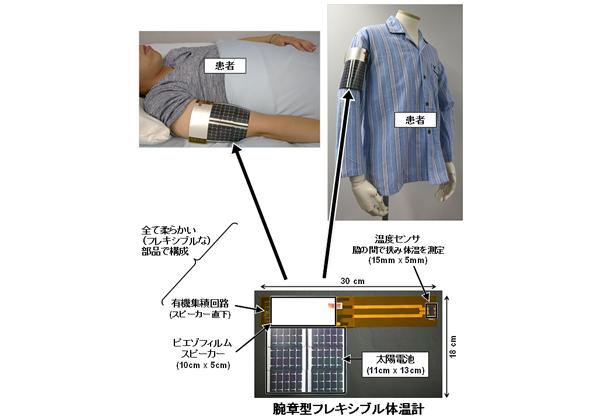 東大,室内光で発電・動作する腕章型フレキシブル体温計を開発