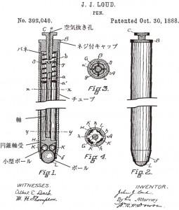 図1 ジョン・ラウドの特許:「ペン」の名称で取得(US N0. 392,046)(一部筆者加工)