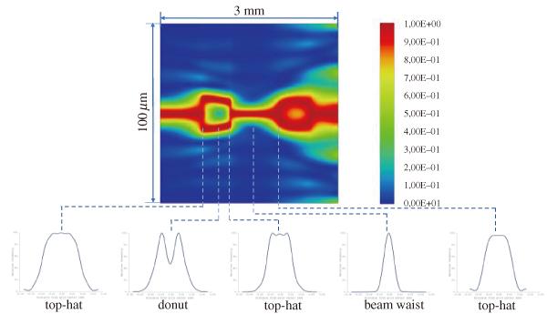 図4 焦点面を中心に±1.5 mmの範囲でz軸方向に沿って標準化されたビームプロファイルを表示(一部の重要なビームプロファイルは強調表示されている)