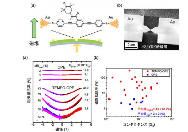 NIMSら,有機ラジカル単分子接合で巨大磁気抵抗効果を観測