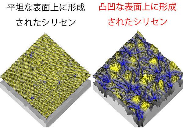 JAIST,シリセンが凸凹な表面上で成長することを発見