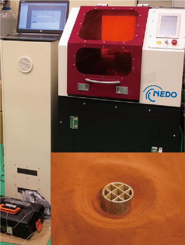 開発した3Dプリンターの外観と純銅造形サンプル