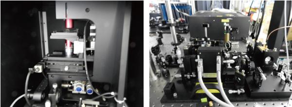 図3 顕微鏡部(左)と位相変調ユニット(右)フェムト秒レーザーはコヒレント社製で,位相変調器は浜松ホトニクス製。位相変調ユニットはワイヤードが設計・作製したという。